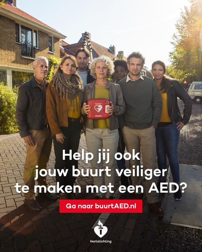 Help mee voor de buurt AED! Oproep van de Hartstichting