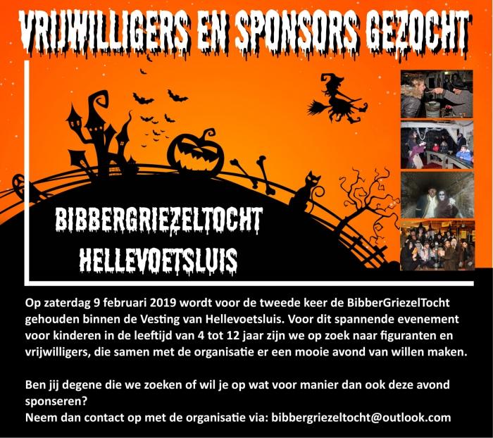 Vrijwilligers/Sponsors gezocht voor Bibbergriezeltocht