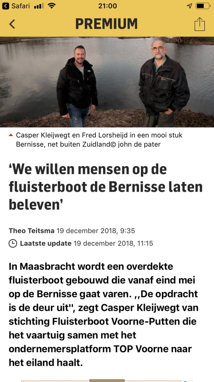Fluisterboot Voorne-Putten gaat varen vanaf juni